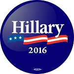 HILLARY FLAG- Button - 2 1/4