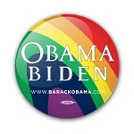"""Obama/Biden"" Buttons - Rainbow Design 2 1/4"""