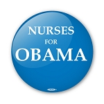 """Nurses for Obama"" - 2 1/4"" Round Blue Button"