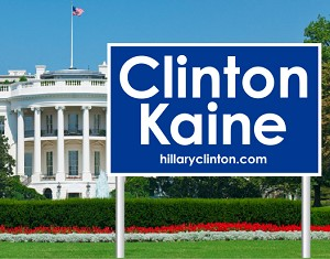 "Clinton Kaine Poly Bag Yard Sign with Wire Frame | 26"" x 16"" 