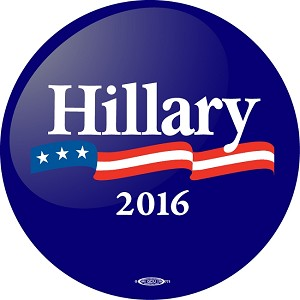 "HILLARY FLAG- Button - 2 1/4"" round"