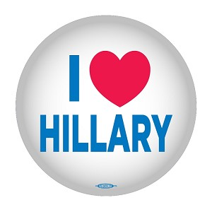 "I HEART HILLARY- Button - 2 1/4"" round"