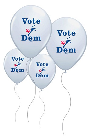 "Vote Dem 11"" Balloons - Bags of 100 - White with Blue and Red logo"