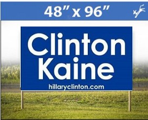 "Clinton Kaine Corrugated Plastic Road Sign 48"" X 96"" (Min Order 10)"