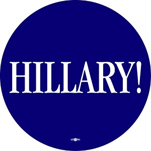 "Hillary! -  Roll of 500 - 3"" Lapel Stickers - Blue with white imprint."