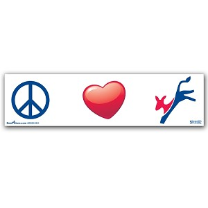 Peace, Love, Democrat (Donkey) - Bumper Sticker