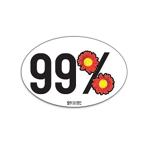 99% (flowers) - Bumper Sticker - Oval