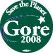 Gore 2008 Save the Planet Button