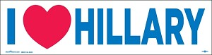 "I HEART HILLARY - Bumper Sticker  - 3"" x 11 1/2"""