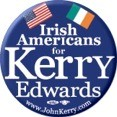 Irish Americans for Kerry/Edwards 2004 2 1/4 in Button