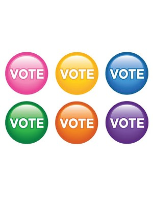 """Vote"" Buttons - Sold in quantities of 6, priced each."